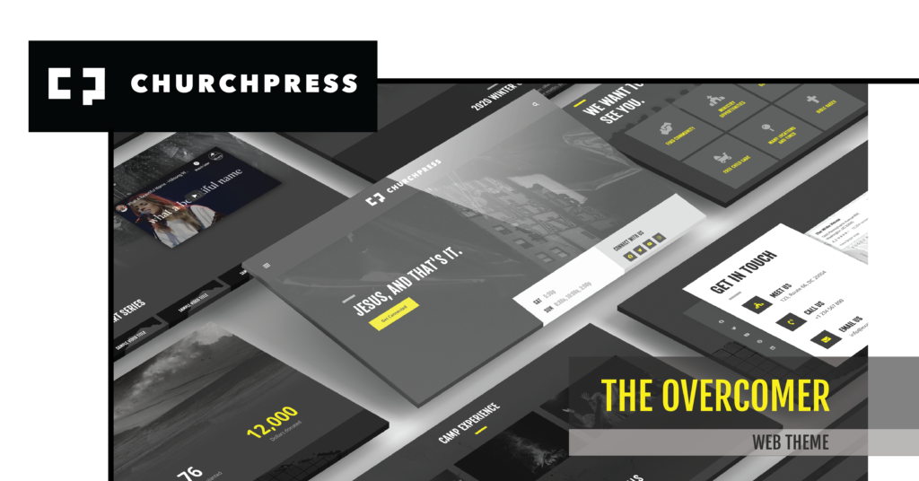 Preview pictures of the new Overcomer web theme for church websites